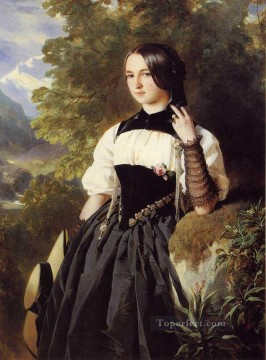 Lake Oil Painting - A Swiss Girl from Interlaken royalty portrait Franz Xaver Winterhalter