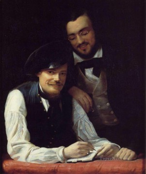 Franz Xaver Winterhalter Painting - Self Portrait of the Artist with his Brother Hermann Franz Xaver Winterhalter