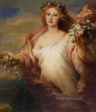 royalty Art Painting - Spring royalty portrait Franz Xaver Winterhalter
