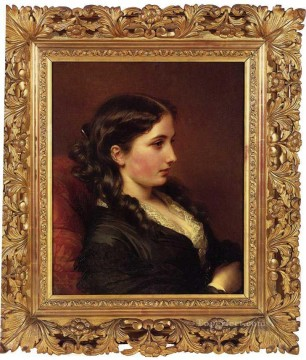 Franz Xaver Winterhalter Painting - Study of a Girl in Profile royalty portrait Franz Xaver Winterhalter