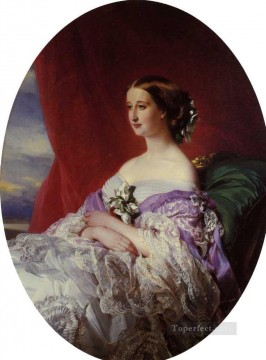 Franz Xaver Winterhalter Painting - The Empress Eugenie royalty portrait Franz Xaver Winterhalter