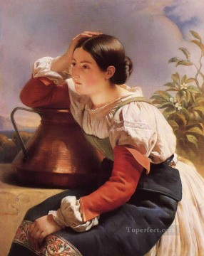Italian Oil Painting - Young Italian Girl by the Well royalty portrait Franz Xaver Winterhalter