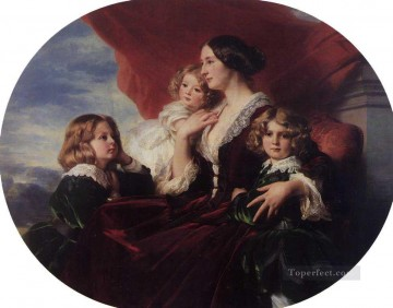 Franz Xaver Winterhalter Painting - Elzbieta Branicka Countess Krasinka and her Children royalty portrait Franz Xaver Winterhalter