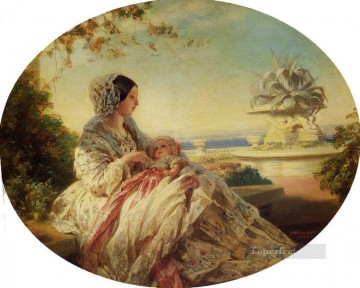 royalty Art Painting - Queen Victoria with Prince Arthur royalty portrait Franz Xaver Winterhalter