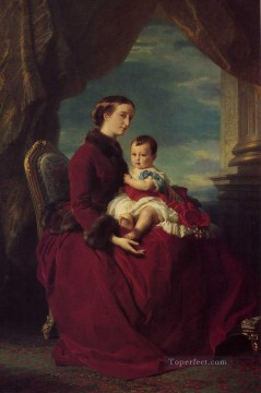 Franz Xaver Winterhalter Painting - The Empress Eugenie Holding Louis Napoleon the Prince Imperial on her K royalty portrait Franz Xaver Winterhalter