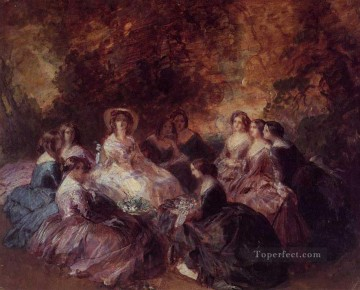 Franz Xaver Winterhalter Painting - The Empress Eugenie Surrounded by her Ladies in Waiting 1855 Franz Xaver Winterhalter
