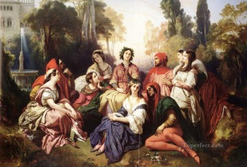Franz Xaver Winterhalter Painting - The Decameron Franz Xaver Winterhalter