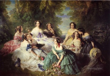 Franz Xaver Winterhalter Painting - The Empress Eugenie Surrounded by her Ladies in Waiting Franz Xaver Winterhalter