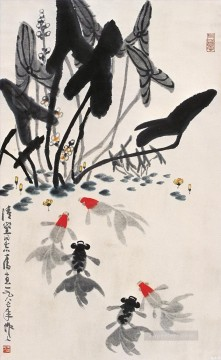 Wu zuoren goldfish and water lilies old China ink Oil Paintings