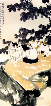 Xu Beihong Ju Peon Painting - Xu Beihong a cat old China ink