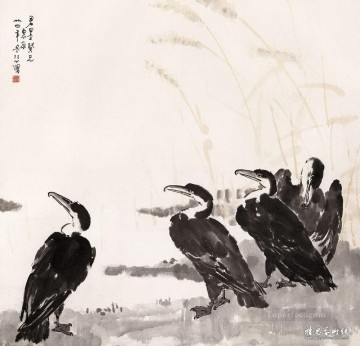 Xu Beihong Ju Peon Painting - Xu Beihong birds old China ink