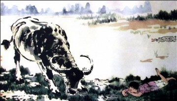 Xu Beihong Ju Peon Painting - Xu Beihong corydon and cattle old China ink