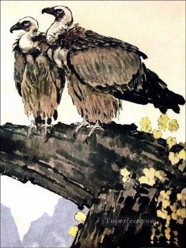 Xu Beihong Ju Peon Painting - Xu Beihong couple eagles old China ink