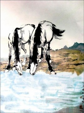 Xu Beihong horses drink water old China ink Oil Paintings