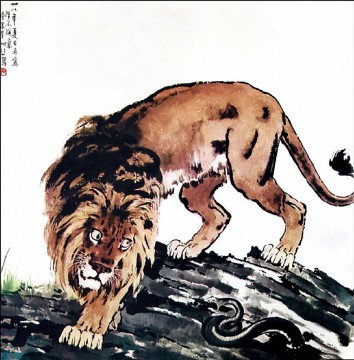 lion art - Xu Beihong lion and snake old China ink