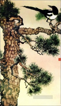 Xu Beihong pie on branch 2 old China ink Oil Paintings
