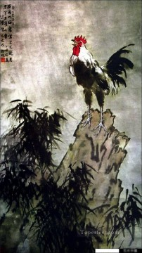 Xu Beihong Ju Peon Painting - Xu Beihong rooster on rock old China ink