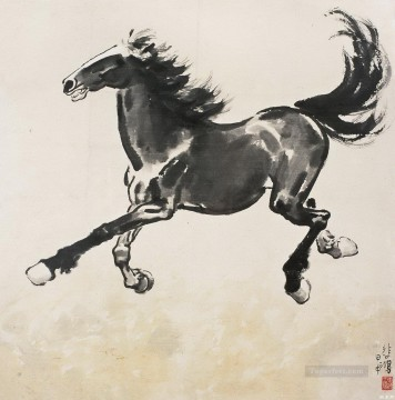 Xu Beihong Ju Peon Painting - Xu Beihong running horse old China ink