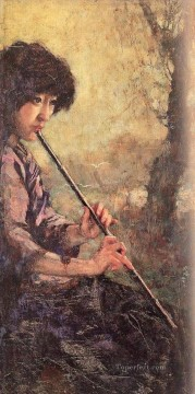Xu Beihong Ju Peon Painting - Xu Beihong the sound of the flute in oil