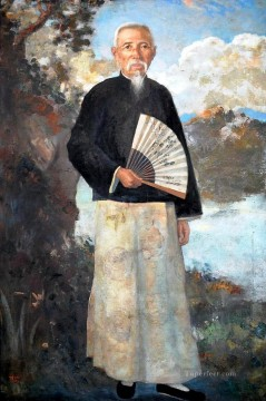 Xu Beihong Ju Peon Painting - a portrait of lim loh Xu Beihong in oil