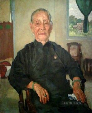 Xu Beihong Ju Peon Painting - a portrait of madame cheng 1941 Xu Beihong in oil