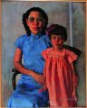 portrait of mrs tchang ju chi and daughter Xu Beihong in oil