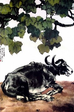 Xu Beihong Ju Peon Painting - Xu Beihong a cattle old China ink