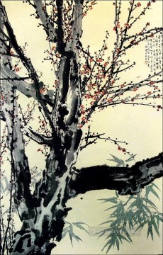 Xu Beihong Ju Peon Painting - Xu Beihong floral plum blossom old China ink