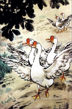 Xu Beihong Ju Peon Painting - Xu Beihong goose old China ink