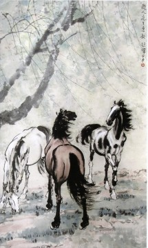 Xu Beihong Ju Peon Painting - Xu Beihong horses 2 old China ink