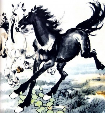 Xu Beihong horses old China ink Oil Paintings