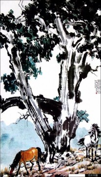 Xu Beihong Ju Peon Painting - Xu Beihong horses under a tree old China ink