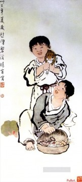 Xu Beihong kids old China ink Oil Paintings