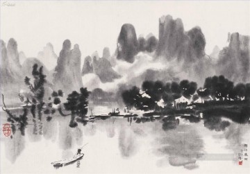 Xu Beihong Ju Peon Painting - Xu Beihong river scenes old China ink