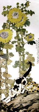 Xu Beihong Ju Peon Painting - Xu Beihong sunflowers old China ink