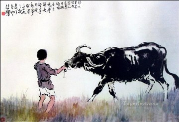 Xu Beihong Ju Peon Painting - Xu Beihong corydon on grass old China ink