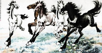 Xu Beihong Ju Peon Painting - Xu Beihong running horses 1 old China ink