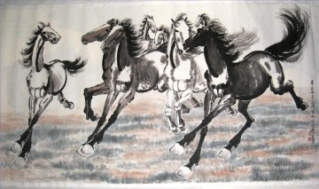 Xu Beihong Ju Peon Painting - Xu Beihong running horses 2 old China ink