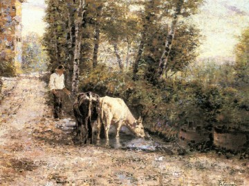 Water Works - Cows Watering At A Quiet Pool country Eugenio Zampighi