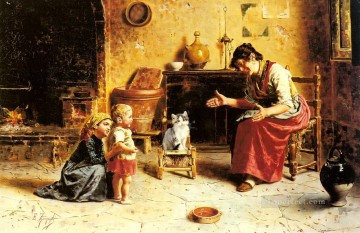 Eugenio Zampighi Painting - A Childs First Step country Eugenio Zampighi