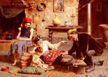Country Painting - A Happy Family country Eugenio Zampighi