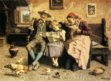 Reading The News country Eugenio Zampighi Oil Paintings