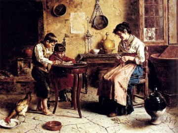 The Writing Lesson country Eugenio Zampighi Oil Paintings