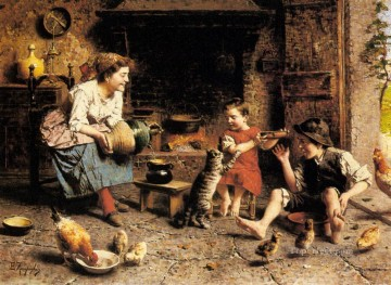 Mealtime country Eugenio Zampighi Oil Paintings