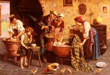 The Family Gathering country Eugenio Zampighi Oil Paintings