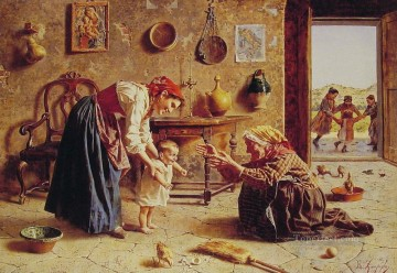 Country Painting - The First Step country Eugenio Zampighi