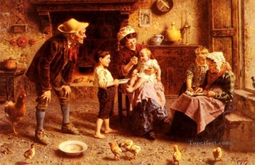 grand Painting - Grandparents Visit country Eugenio Zampighi