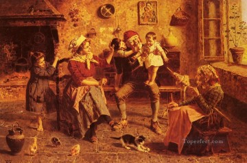 Eugenio Zampighi Painting - The Center of Attention country Eugenio Zampighi