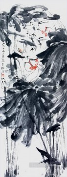 chang dai chien Painting - Chang dai chien lotus 6 old China ink