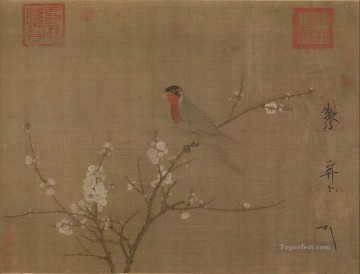 Zhao Ji Song Huizong Painting - five colored parakeet on a blossoming apricot tree 1119 old China ink